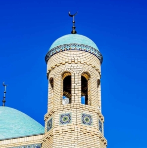 Crescent atop Muslim Prayer Tower over Mosque